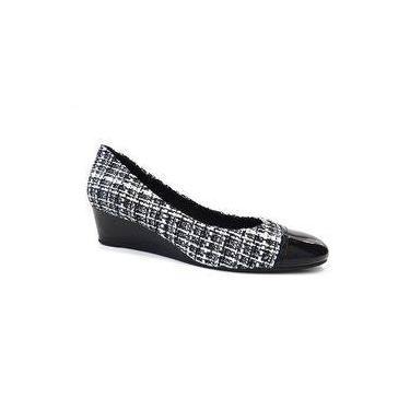Sapato Tecido Anabela Conforto Z8807 - Usaflex (59 - Preto/Branco