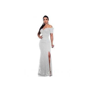 Vestido Branco De Casamento Noiva Longo Com Fenda Na Perna