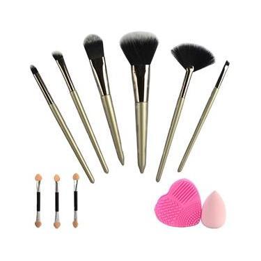 Kit 9 Pincéis Para Maquiagem Luxo Esponja Limpador CBRN11049