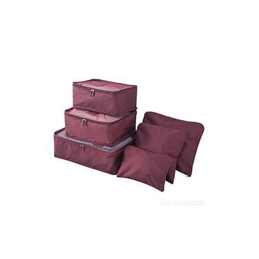 Kit 6 Sacos Bolsas Organizador Mala Roupas Bagagem Viagem Roxo