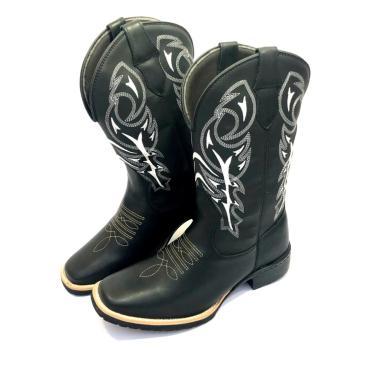Bota Texana Country Texas Gold Bico Quadrado Delegada Preto  masculino