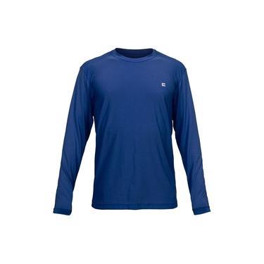 Camiseta Masculina Curtlo Active Fresh Manga Longa Azul Marinho