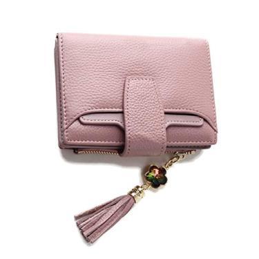 Carteira feminina de couro pequena compacta com duas dobras, bolso com zíper, porta-cartão, carteira, carteira de couro, duas dobras, bolsa de embreagem
