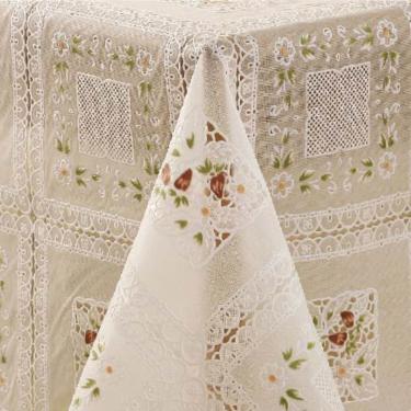Imagem de Toalha de Mesa PVC Retangular 6 Lugares Branca Rendeiras