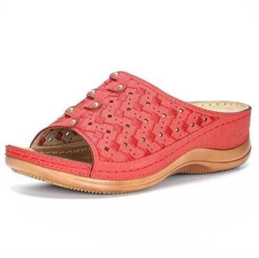 Imagem de Sandália ortopédica de três cores, sandálias femininas para correção de joanete, chinelos para mulheres com suporte de arco, sandálias ortopédicas de bico aberto (vermelho, 44)