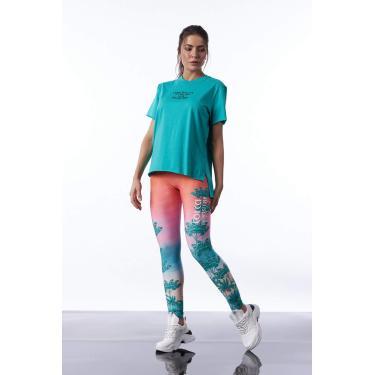 Camiseta Assimétrica, Colcci Fitness, Feminino, Verde Corumba, P