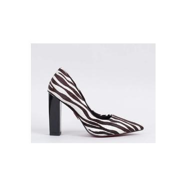 Scarpin Salto Bloco Madeira 10cm Pelo Zebra CBK