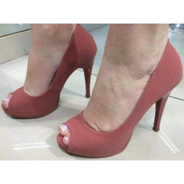 - Sandália Pata Salto Alto Fino Nude Rosê Rosado Camurça