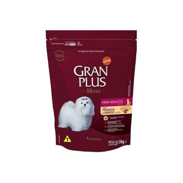 Ração Gran Plus Cães de Raças Pequenas Adultos Sabor Frango e Arroz 3 Kg