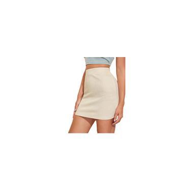 Minissaia feminina de cintura alta sólida e fina saia reta curta