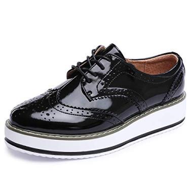 Sapatos femininos Catata Wingtip Wedges Oxfords Plataforma de cadarço Brogues Casamento, Preto, 8.5