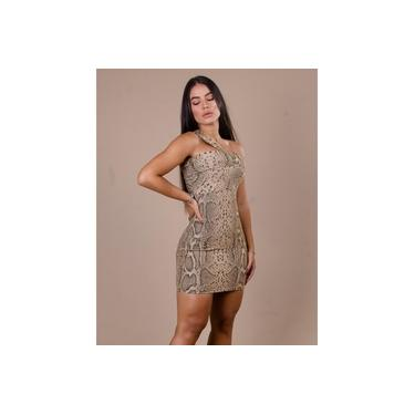 Vestido Miss Misses de Lurex com Animal Print Dourado