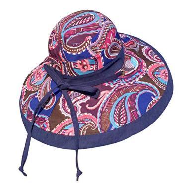 PRETYZOOM Chapéu de sol de aba larga com estampa de dupla face, chapéu de pescador feminino, chapéu de sol para viagens ao ar livre na praia (azul marinho) acessórios de verão