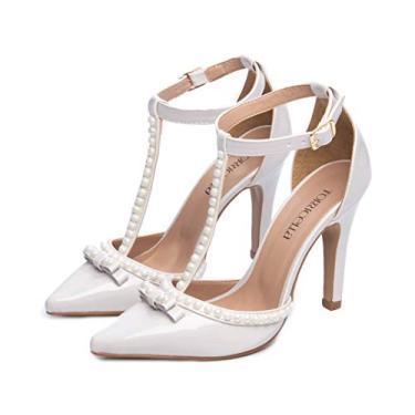 Imagem de Sapato Feminino Branco Social Scarpin Feminino Salto Alto Sapato Feminino Salto Alto (37, Off White)