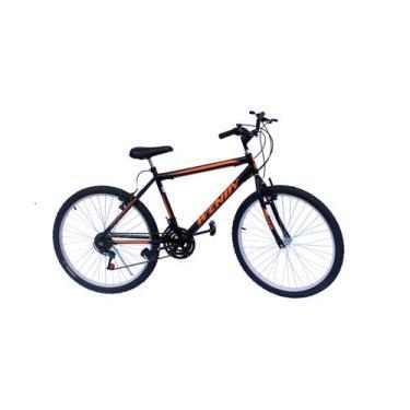 Bicicleta aro 26 mtb wendy 18marchas cor preto adesivo laranja