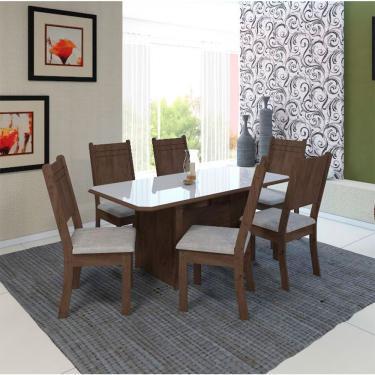 Conjunto de Mesa Safira com 6 Cadeiras Assento Courino 150x80 cm - Noce com Linho