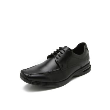 Sapato Social Couro Democrata Pespontos Preto Democrata 448026-001 masculino