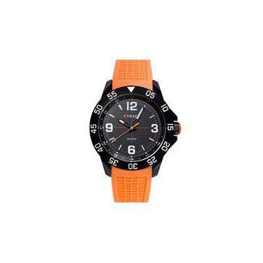 cfbf188491f Relógio Masculino Curren Analógico 8181 Preto E Laranja