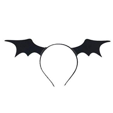 Imagem de NUOBESTY Bat Wing Tiara Halloween Devil Hair Hoop Mascarada Cosplay Festa Chapéu Halloween Fantasia para Menina Infantil Mulheres (Preto)