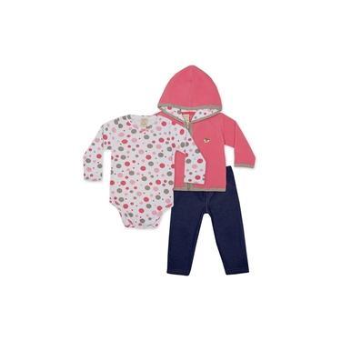 Conjunto Bebê Menina Com Casaco Soft rosa, Body Estampado, Legging jeans Malha Bubbles - Pingo Lelê