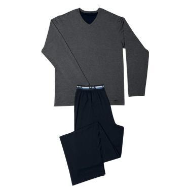Pijama Visco e Modal M.Longa C/Bord Mash, Masculino, Cinza Escuro e Preto, P