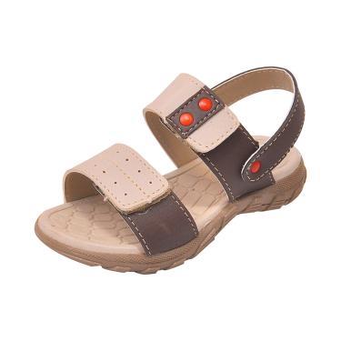 Sandália Infantil Raniel Calçados Papete Velcro Marfim Café  menino