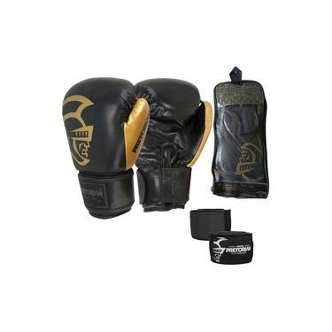 Kit Boxe Muay Thai Pretorian Black Line Gold Luva 16 OZ + Bandagem 4,5 Metros