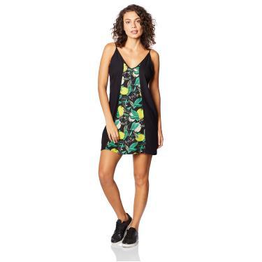 Vestido Curto Estampado Sommer, Feminino, Preto/Verde/Amarelo/Bege/Off, M