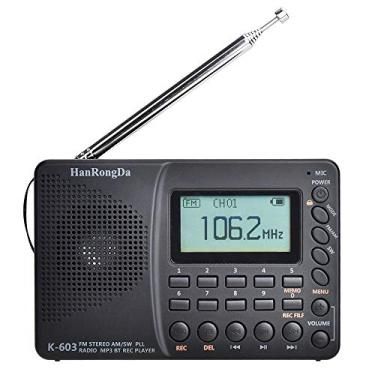 Andoer HRD-603 Rádio Portátil AM/FM/SW/BT/TF Pocket Rádio USB MP3 Gravador Digital Suporte Cartão TF Bluetooth