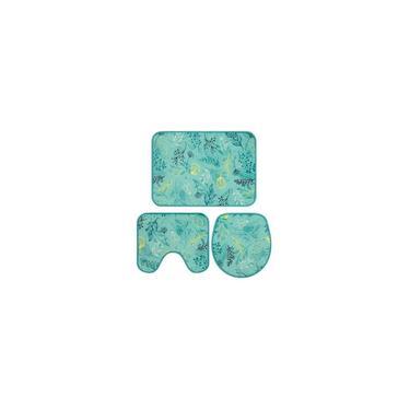 Imagem de Jogo Tapete Banheiro Astral Azul Folhas 3 Peças Jolitex
