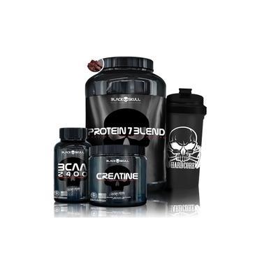 Whey Protein 7 + BCAA + Creatina - Black Skull + Coqueteleira - Black Skull