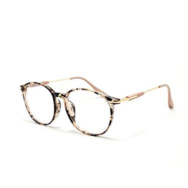 Imagem de Óculos Armação Geek Redondo Feminino Masculino Sem Grau Cor: Rosa-Tartaruga