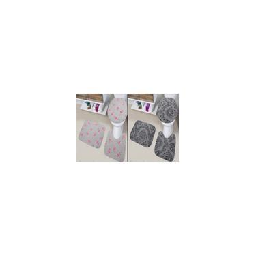 Imagem de Kit 6 Peças Tapete Banheiro 2 Jogos Completos Antiderrapante