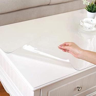 Imagem de Toalha de mesa de plástico transparente retangular 80x80cm, toalha de mesa de plástico transparente para serviços pesados com design, capa de mesa transparente grossa, 1 mm, oblonga, anti-