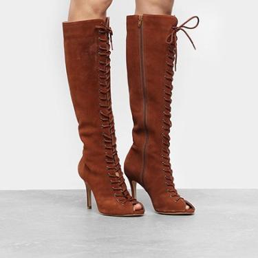 002cb38f8 Bota Couro Cano Longo Shoestock Aberta Lace Up Feminina - Feminino Caramelo