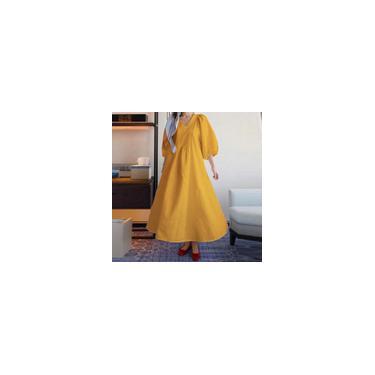 Feminino manga 3/4 decote em V cor sólida casual solto vestido maxi verão plus size vestido túnica de férias Kleid Amarelo L