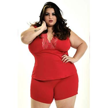 Short Doll Plus Size Conjunto Pijama Dormir Dona Plus Size (GG/52, VERMELHO)