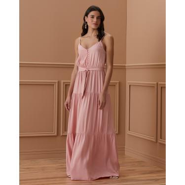 vestido longo de camadas com faixa e abotoamento Feminino AMARO ROSA QUEIMADO M
