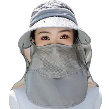 SOIMISS Chapéu de sol de verão criativo capa de rosto chapéu de aba larga Sunbonnet protetor solar cinza