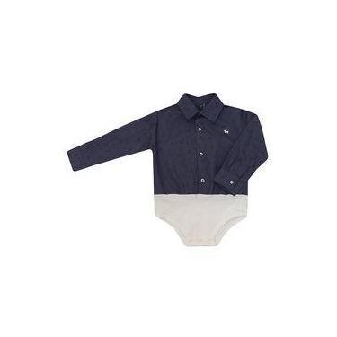 Camisa-Body Masculino Infantil Manga Longa Azul