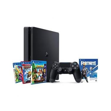 Console PS4 Sony 1 Tb Preto CUH-2214B Hits V8 Family Ratchet, Spyro, Crash