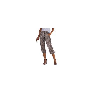 Calças de moletom femininas leopardo / cobra elástico ativo de cintura com bolso