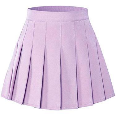 Saia plissada para meninas e mulheres SANGTREE com faixa elástica confortável, 2 anos - adulto GG, Lilac, Large