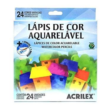 Lápis de Cor Aquarelavel Caixa com 24 unidades + 1 Pincel - Acrilex