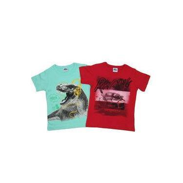 Camiseta Infantil Masculino Manga Curta Kit Com 2 Unidades Verde E Vermelho