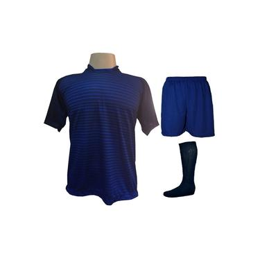 Imagem de Fardamento Completo modelo City 18+1 (18 Camisas Marinho/Royal + 18 Calções Madrid Royal + 18 Pares de Meiões Marinho + 1 Conjunto de Goleiro) +