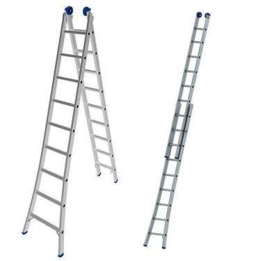 Escada De Alumínio Extensiva 2 X 9 Degraus 2,81 X 4,50 Metros Mor
