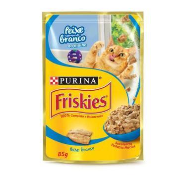 Ração Úmida Nestlé Purina Friskies Peixe Branco ao Molho para Gatos Adultos - 85 g