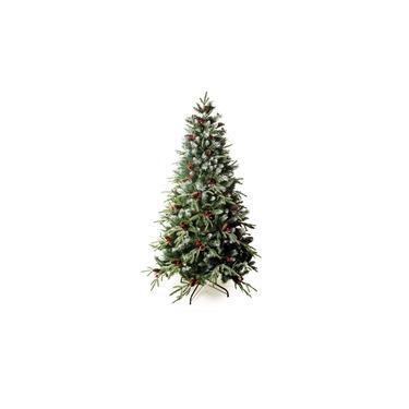 Árvore De Natal Nevada Cerejas E Pinhas 210Cm 2125 Hastes