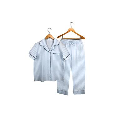 Pijama Feminino Botões, estilo Americano, Meia estação, Listrado Azul/Branco